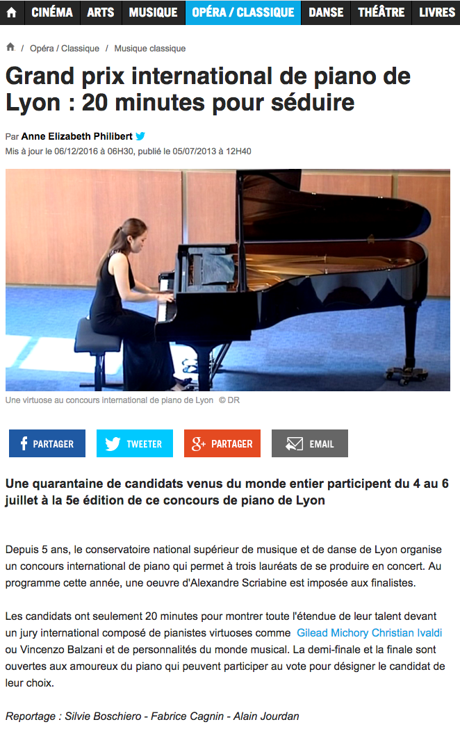 International Piano Competition of Lyon (France)